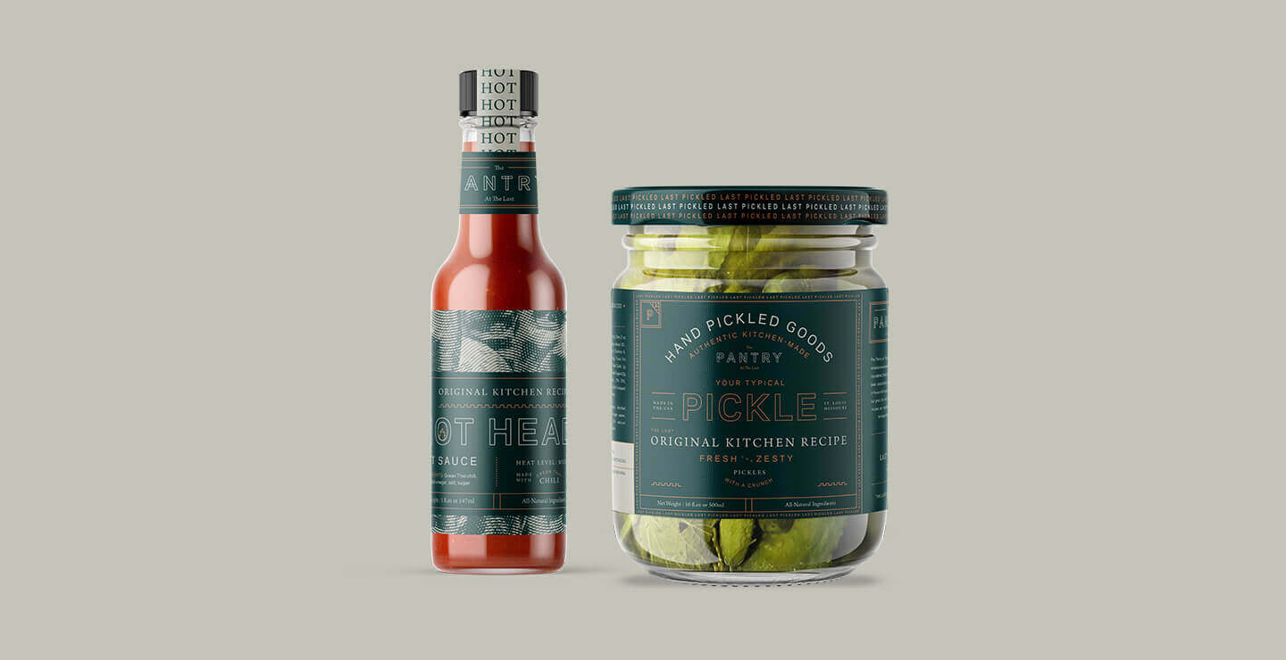 The Last Pantry hot sauce and pickle jar packaging