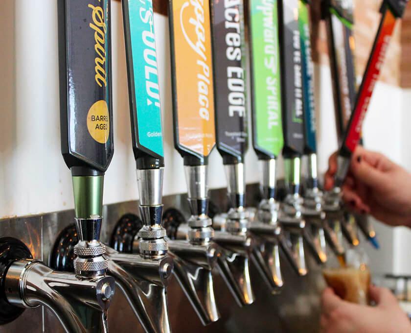 Third Space Brewing beer branding on bar taps
